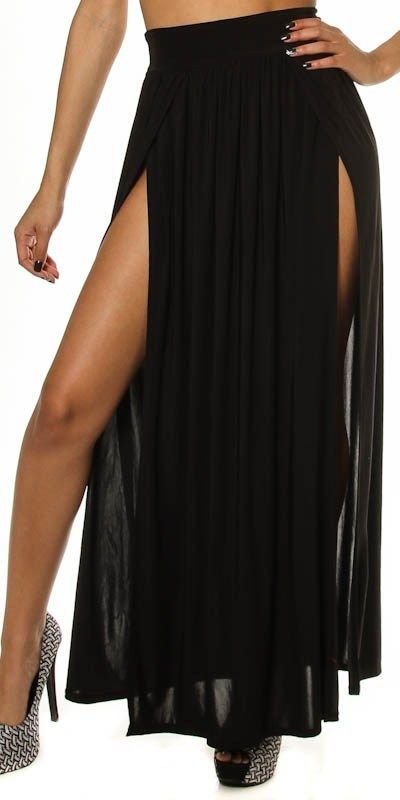 long skirt with 2 high slits plus size | Plus Size Sexy High Waist Double Thigh High Slit Maxi Skirt Long Full ... this is a must have.. im buying this asap