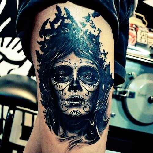 sugar skull tattoo... It's a little too dark, but other than that this is beautiful