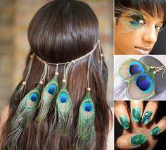 Schmuck, Make-up und Nageldesign zum Pfau Kostüm
