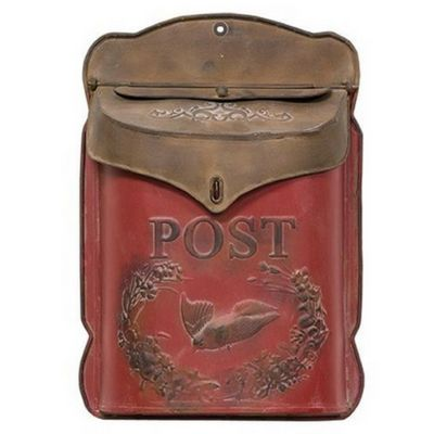 "Red and Rust Post Box - Our Red and Rust Post Box is made from metal and features a lightly distressed, red and brown finish. The mailbox is embossed with scrollwork, a bird in flight, and the word ""Post."" It includes a slot for mail as well as a hinged top for storing larger item. There is a pre-drilled hole for hanging. This rustic mailbox will make a charming addition to your home."