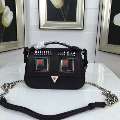 2017 Spring Fendi Double Micro Baguette Bag with Multicolored metal appliqués and Square Eyes motif