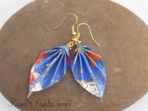 Origami Leaf Earrings in blue by PaperNPearlzOnEtsy, $10.00