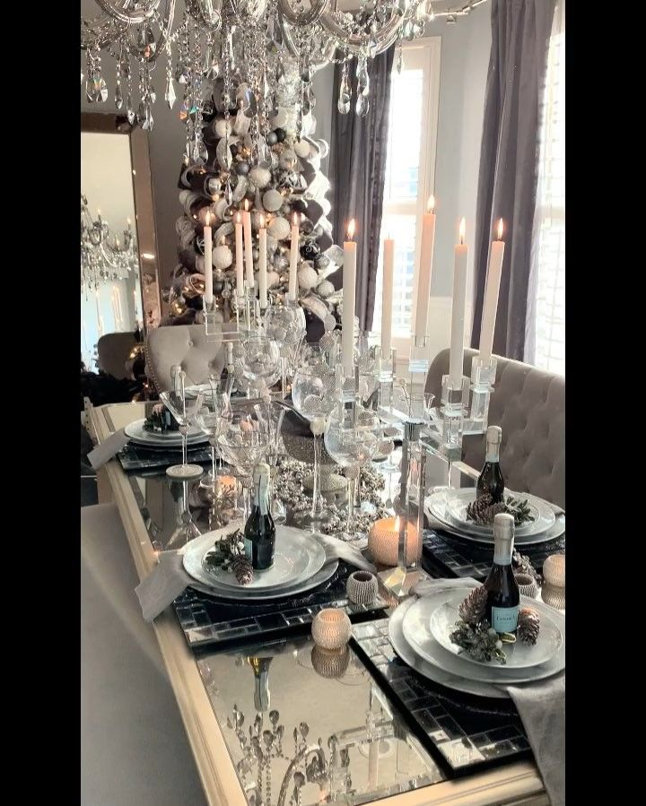 Rh Interior Designs On Instagram New Year Tablescape 2019 Having An Early Dinner Christmas Dining Room Table Luxury Christmas Decor Christmas Dining Room