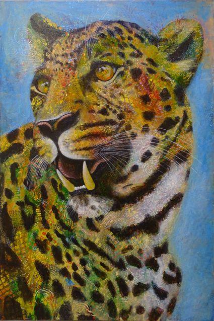 Big Cat by Shirley Dougan Acrylic on canvas 60cm x 90cm.
