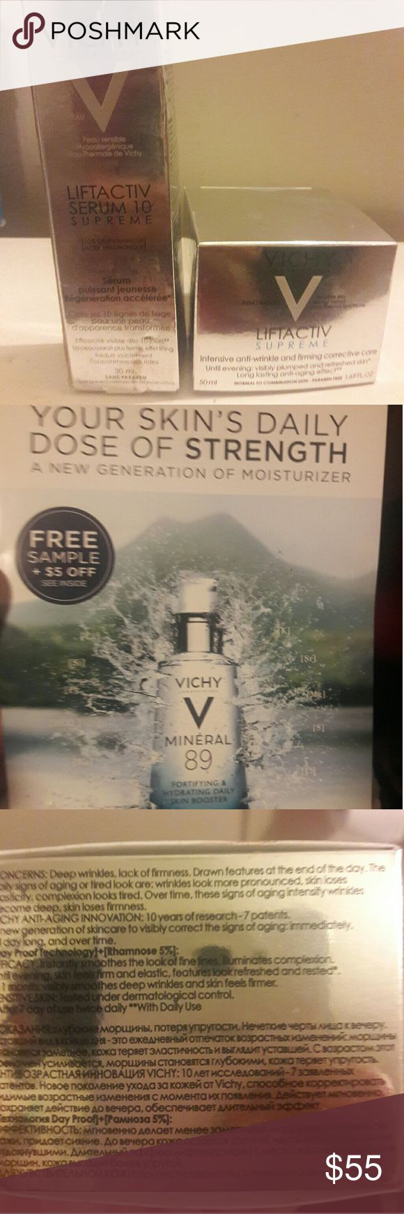 VICHY Liftactiv Supreme Moisturizer & Serum *Brand New* Cult FAVORITE European skincare  FIVE STAR SKINCARE LINE  Ideal for aging skin.  *Visibly reduces lines and wrinkles. ( PLUMPED SKIN GUARANTEED IN 10 DAYS BY VICHY)   🔥This is the NEW AND IMPROVED FORMULA🔥  *Ill even include a free sample of their newest serum!!  Items available individually  1) $30 2)$55 Vichy Makeup Face Primer