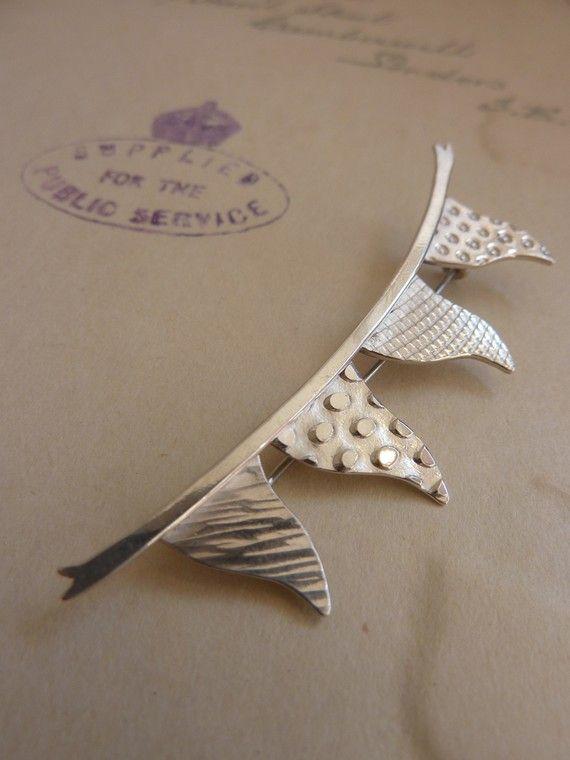 Silver Bunting Brooch by BluebirdJewellery on Etsy