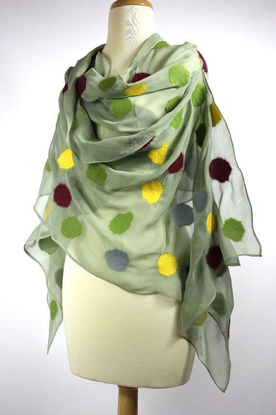 Nuno felted scarf , silk chiffon , merino wool , red, green scarf, Polka dots scarf via Etsy