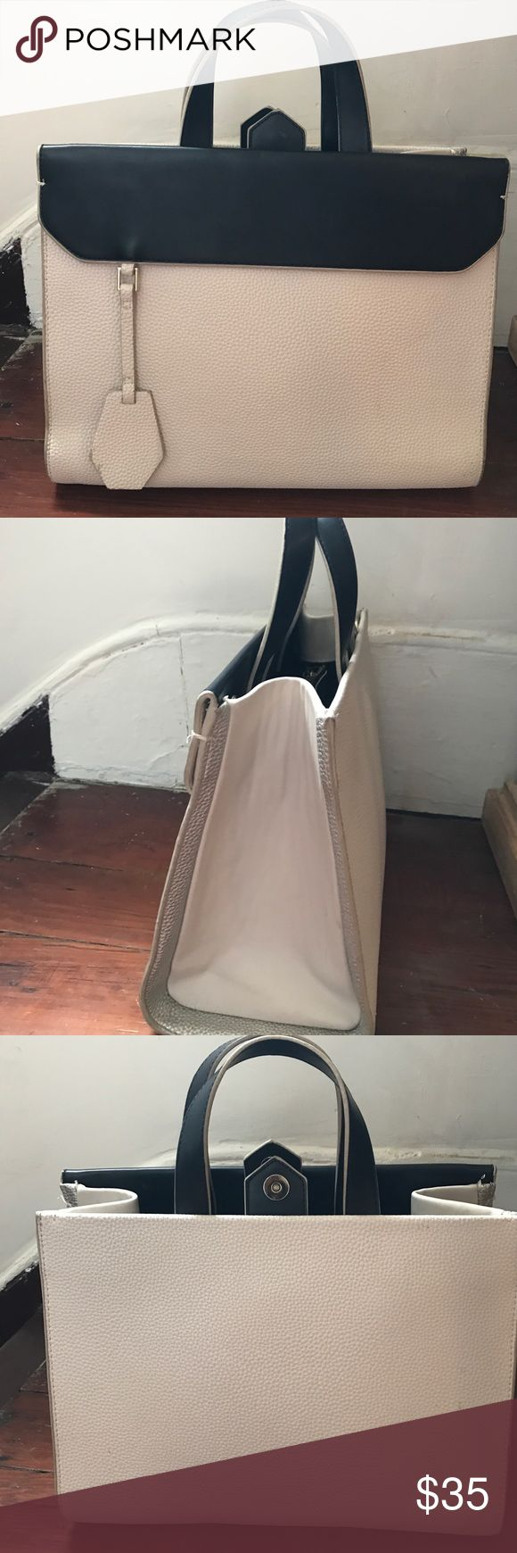Zara black and cream structured handbag Fabulous Zara handbag in great condition. Comes with long strap as well. Very structured bag that doesn't loose its shape. Worn only a few times. Looks very similar to a Fendi style bag. Zara Bags Satchels