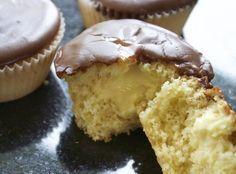 Vanilje muffins med vaniljekrem og sjokolade (grysmat)