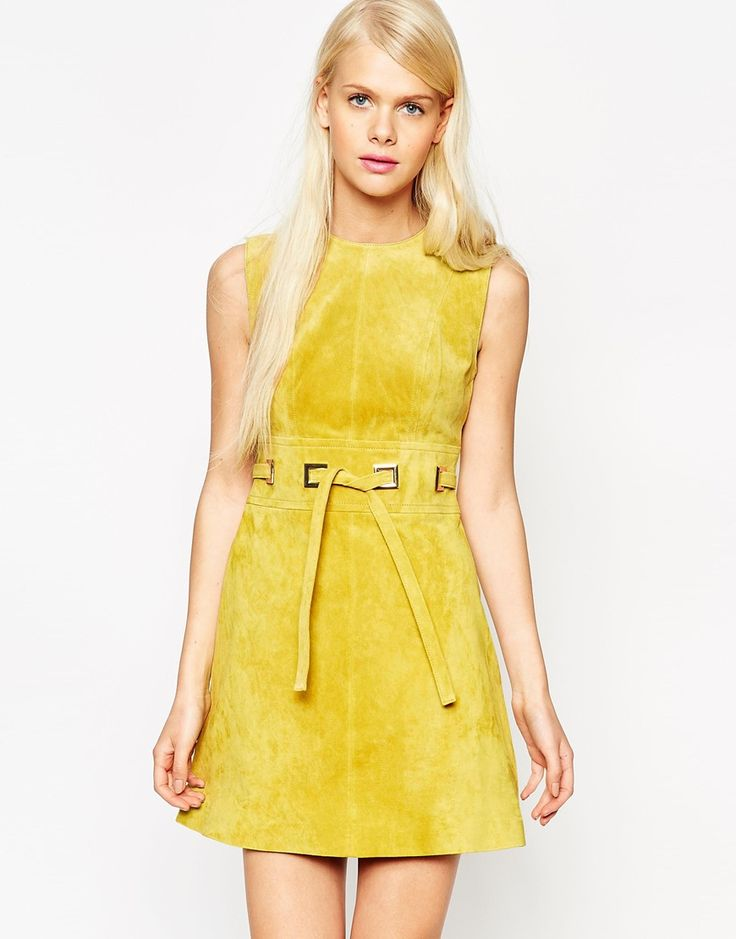 Image 1 of ASOS A-Line Dress in Suede with Square Eyelet Detail