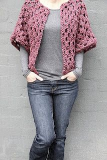 Intermediate - Granny Square Shrug. Pattern (in UK terms) at http://www.kootoyoo.com/wp-content/uploads/2013/06/Granny-shrug.pdf