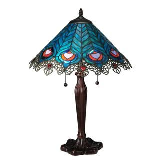 23-inch Peacock Feather Lace Table Lamp - Overstock™ Shopping - Great Deals on Tiffany Style Lighting