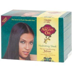 Hawaiian Silky Argan Oil Hydrating Sleek Relaxer Kit Super by Hawaiian Silky. $12.89. Infused with Moroccan Argan Oil, this high performance relaxer will deliver flawlessly smooth sleek hair with lustrous shine.  It significantly improves hair moisture balance as it repairs and protects for stronger smoother more beautiful hair you can see and feel.