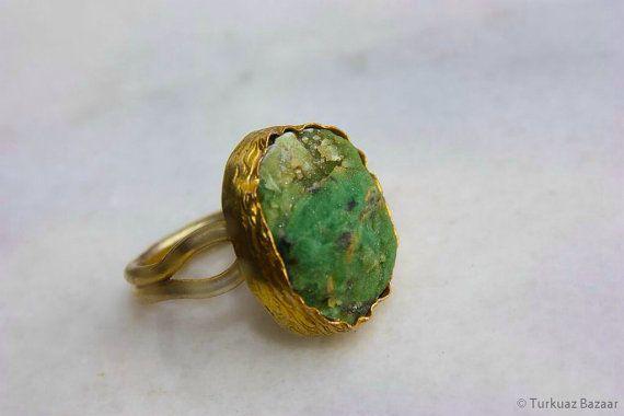 Hurrem Rough Aventurine Stone Handcrafted Ring in by TurkuazBazaar, $40.00