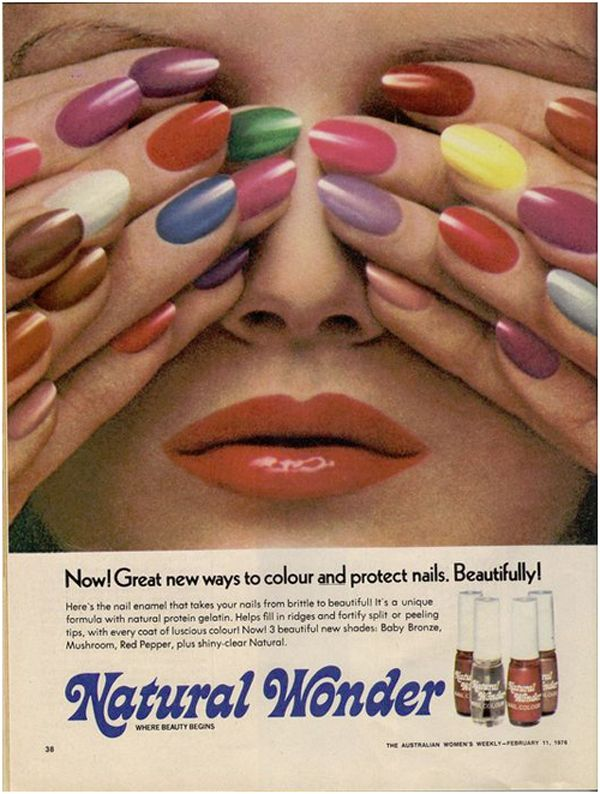 Prismatic nails got their start in the '70s, as shown in this Natural Wonder advertisement via Creativefan.