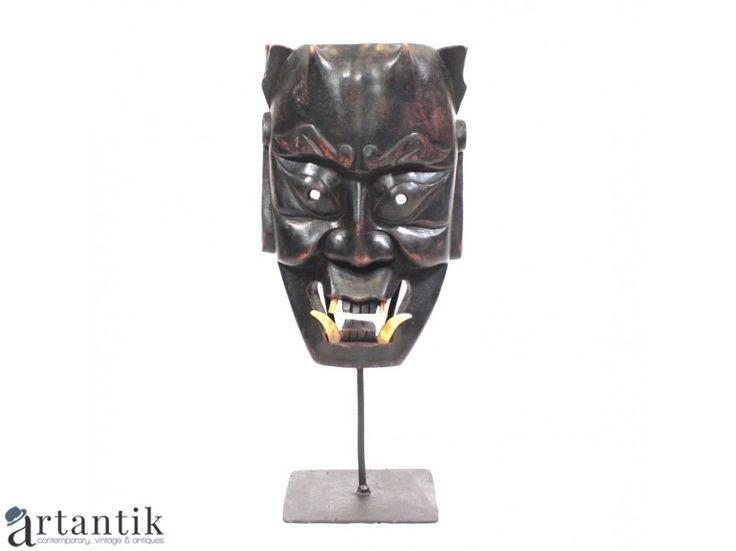 Masca japoneza - Hannya - sculptura in lemn ebenizat