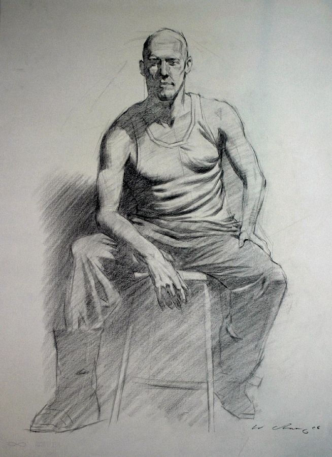"Clothed Figure 4 || Warren Chang, Charcoal ~ 23"" x 17"""