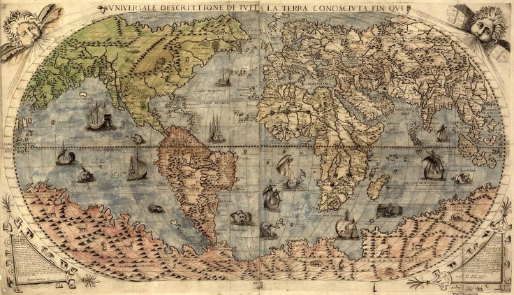 """This is an original map created in 1565 which shows the known world of the day. This old map gives an incredible view of the New World, recently discovered by Christopher Columbus. The map has a lot of interesting artwork, including pictures of period ships sailing the ocean. The map is titled, """"Vniversale descrittione di tvtta la terra conoscivta fin qvi."""".  Topógrafo. Land Surveyor.  Repin: Topografía BGO Navarro - Estudio de Ingeniería"""