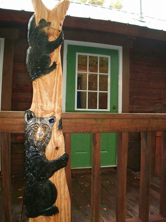 Two black bears in tree quot chainsaw wooden bear carving