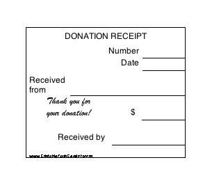 A set of six small charitable donation receipts, suitable for tax purposes, noting,