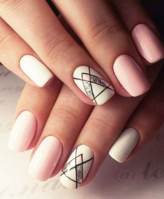 20 Shockingly Simple Geometric Nail Art Ideas You'll Love | nails |  Pinterest | Geometric nail art, Makeup and Manicure - 20 Shockingly Simple Geometric Nail Art Ideas You'll Love Nails