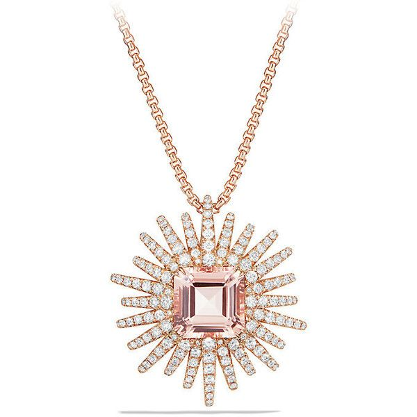 David Yurman Starburst Necklace with Diamonds and Morganite in 18K... (13,915 CAD) ❤ liked on Polyvore featuring jewelry, necklaces, 18k necklace, 18k rose gold necklace, pendant necklace, rose gold diamond necklace and diamond pendant