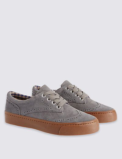 Kids Suede Brogue Shoes with Water Repellent Finish | M&S