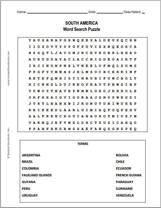 South America Word Search Puzzle Free To Print Pdf File
