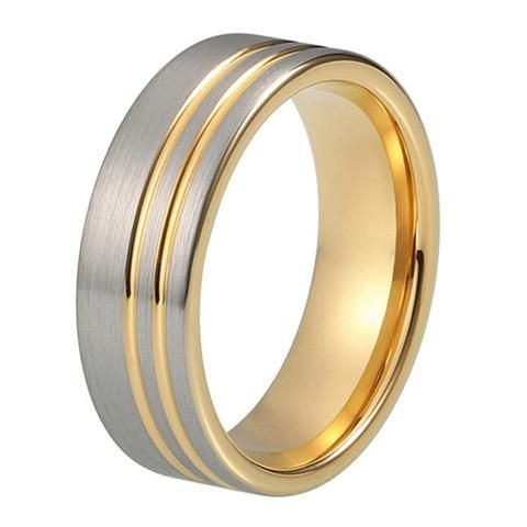 Mens Wedding Ring Yellow Gold Wedding Band 8mm Tungsten Carbide 18K Tungsten Ring Man Wedding Band Male Engagement Ring Anniversary Promise Brushed Silver Ring Offset Groove
