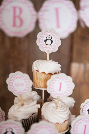 CUPCAKE TOPPERS  Penguin Birthday Party by getthepartystarted