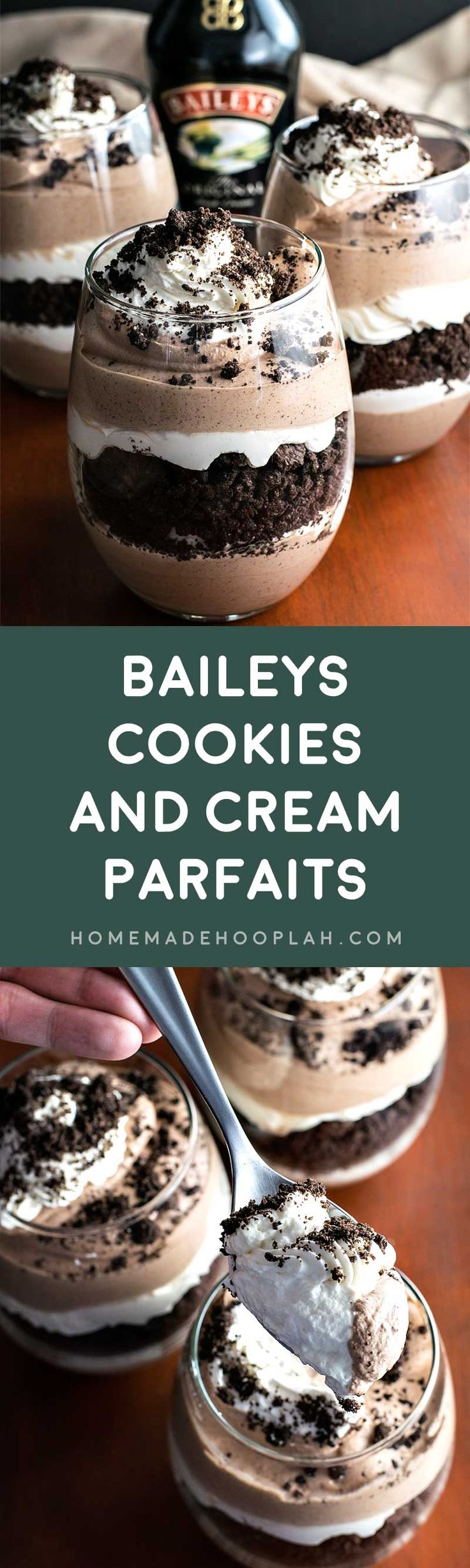 Baileys Cookies and Cream Parfaits! Layered chocolate and Baileys cream paired with crumbled Oreo cookies. These Baileys Cookies and Cream Parfaits are the perfect weekend retreat!   HomemadeHooplah.com