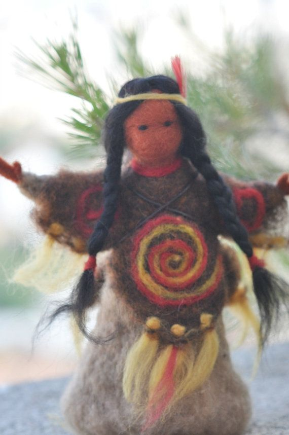 Needle felted Waldorf  Native AmericanSoft by darialvovsky on Etsy