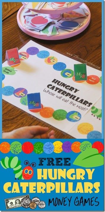 FREE Hungry Caterpillars Money Games - such a fun way for kids to practice counting money and practice identifying coins for preschool, kindergarten, first grade, 2nd grade, 3rd grade. SO CUTE!