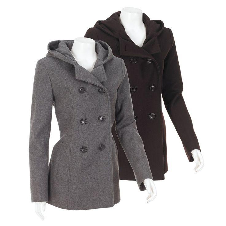 Wool Blend Peacoat with Hood 182561279 | Wool | Shop By Fabric | Women | Burlington Coat Factory