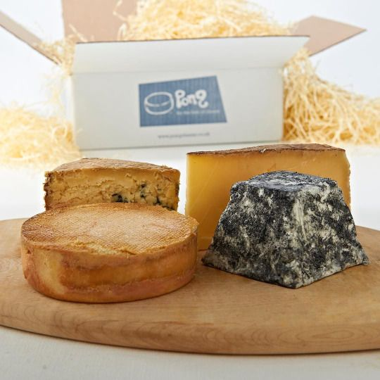 English Selection: Montgomery Cheddar, Stinking Bishop, Cerney goat's cheese and Cropwell Bishop Stilton.  www.pongcheese.co.uk