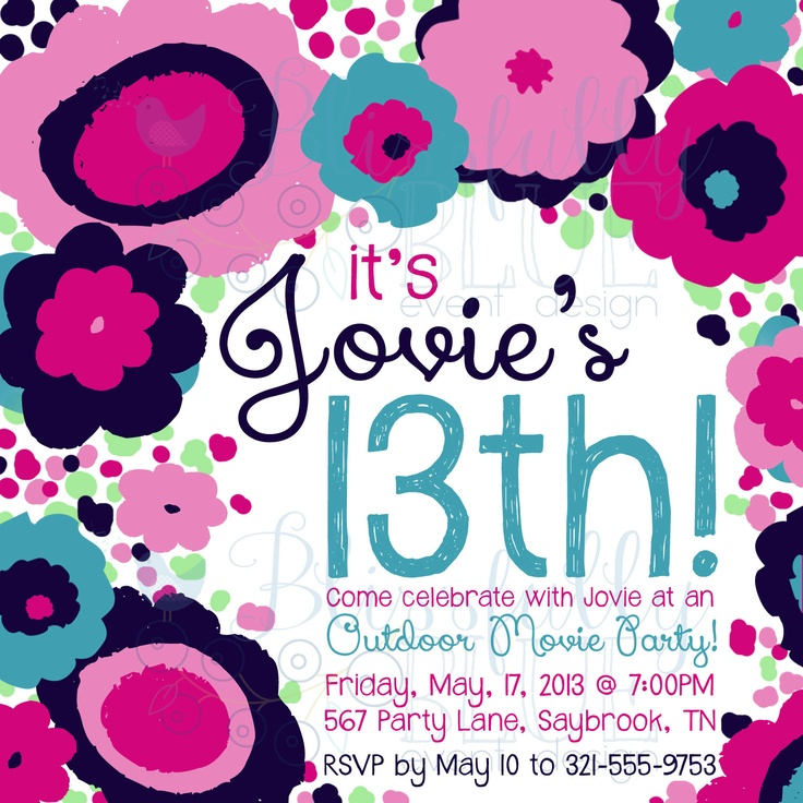Funky fresh floral invitation 13th birthday sweet 16 for 13th birthday party decoration ideas