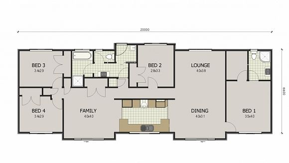 Flip it, wall between kitchen and family, take out second shower and have access to bathroom from there.