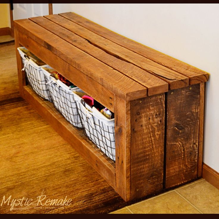 Pallet Wood Storage Bench - Good for that shoe storage so shoes aren't lying around the house everywhere (pet peeve of mine) LN