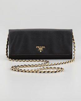 $610 V1NJG Prada Saffiano Wallet on a Chain, Black
