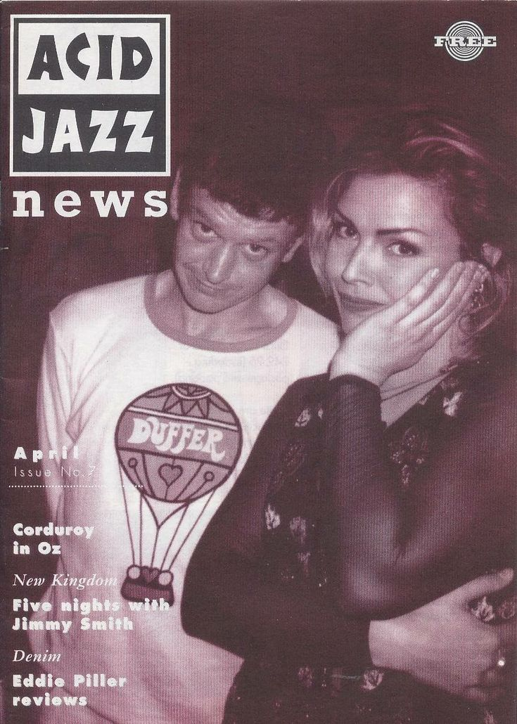 Richard Searle from Corduroy with Kim Wilde; nice Duffer if St George top. Acid Jazz Magazine cover.