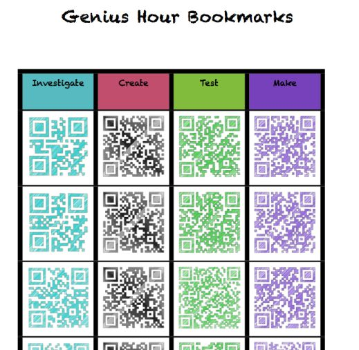 Genius Hour Bookmarks as a place to start and get ideas flowing.