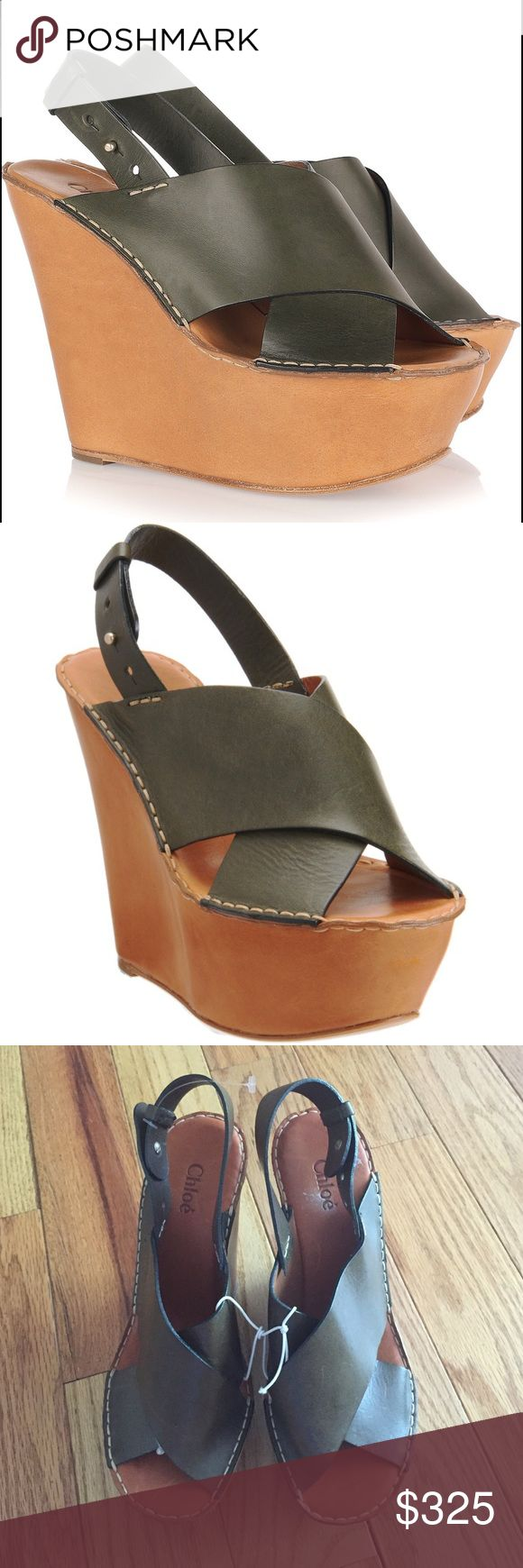 ⚡️FINAL FLASH⚡️ NWOT Chloe Wedges AMAZING Chloe Wedges with Hunter Green Straps and brown wedges. 100% quality calf leather. Never worn except to try on. No box, bag or tags. OFFERS WELCOME  Chloe Shoes