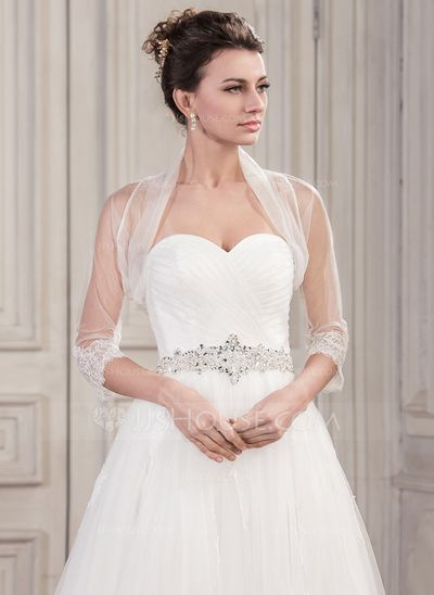 Half-Sleeve Tüll Hochzeit Bolero (013061278)