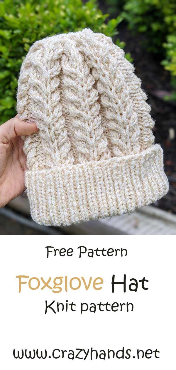 Free Knitting Pattern Foxglove Beanie For Beginners Knitting Patterns Free Hats Knitted Hat Patterns Free Women Hat Knitting Patterns