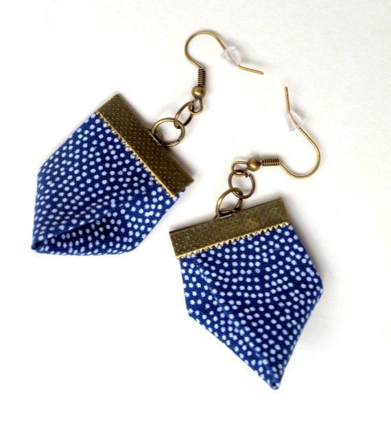 Kimono blue with tiny white polka dot fabric earrings by Gilgulim, $14.80