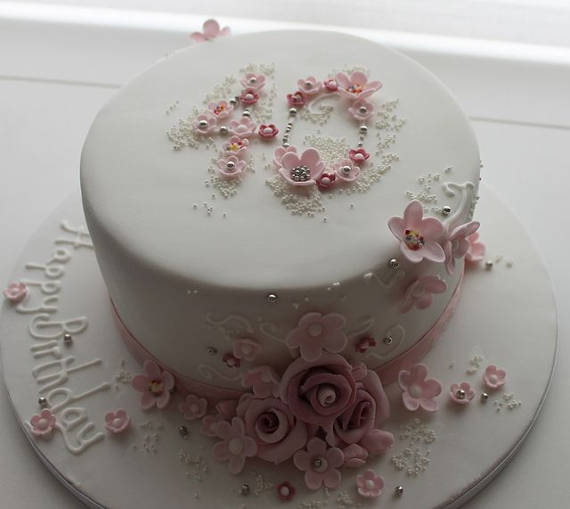 40 floral birthday cake by Jill The Cakemaker, via Flickr