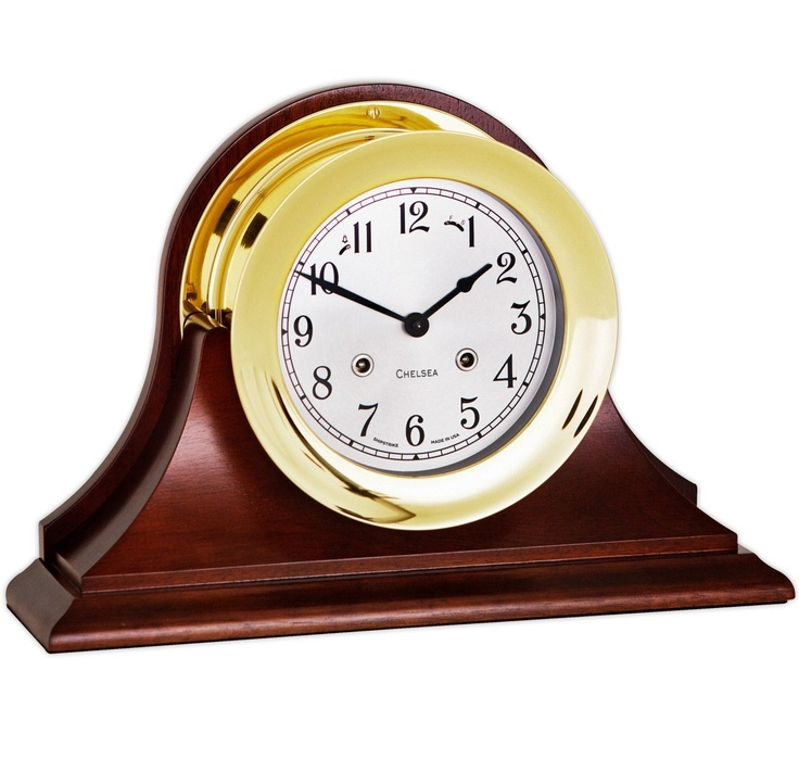 """Chelsea Clock 6"""" Shipstrike Clock in Brass on Traditional Base 