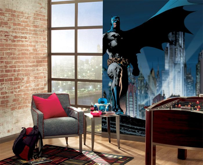 Batman Wall Mural Ideas With Grey Lounge Chair Red Cushions Pattern Rug And  Brick Wall Design