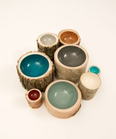 Log Bowls by Doha Chebib Lindskoop.  Made in Canada.