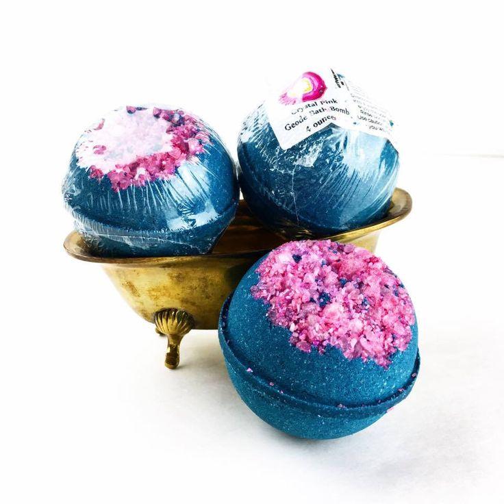 Geode Bath Bomb, Pink Crystal Bathbomb, Crystal Lover, Gemstone BathBomb, Amethyst Gift, Geode Gift, Amethyst Crystal, Quartz Gift, For Mom by KiyiKiyi on Etsy https://www.etsy.com/au/listing/550703233/geode-bath-bomb-pink-crystal-bathbomb